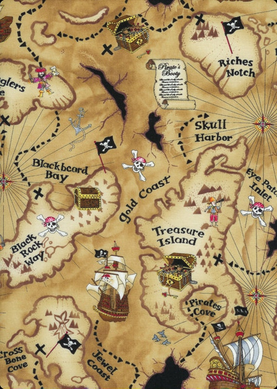 Pirate Map Fabric on Tan - Half Yard