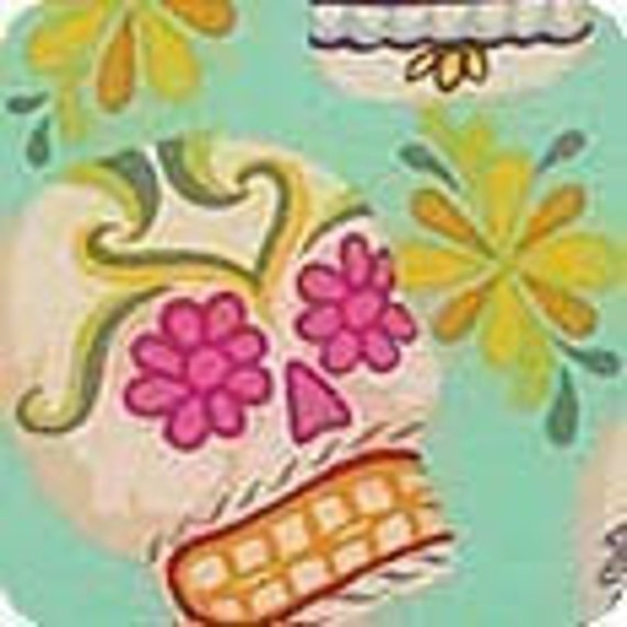 Alexander Henry Mini Calaveras Fabric on Turquoise  - By the Yard