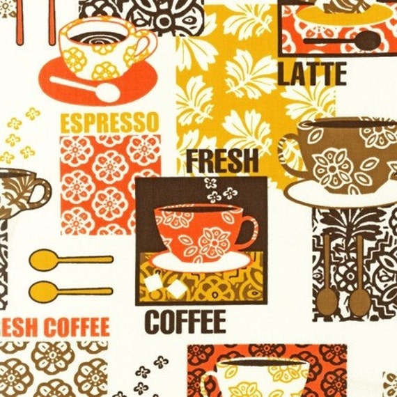 NEW Victoria Johnson, Metro Cafe Coffee Labels Spice Fabric - By the Yard