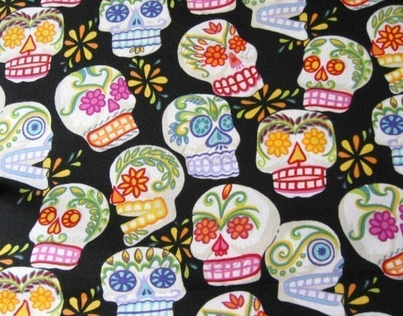Alexander Henry Mini Calaveras Fabric on Black - By the Yard