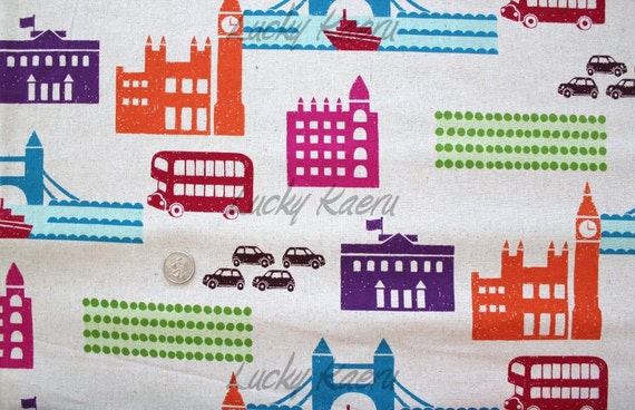 Echino Ni-co London City Scene Natural Fabric- Half Yard