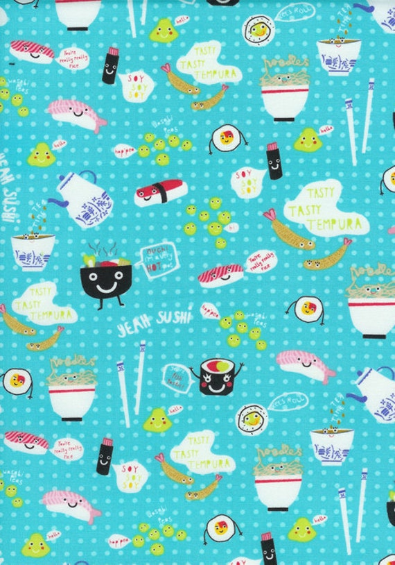 Timeless Treasures Sushi Aqua Fabric - By the Yard