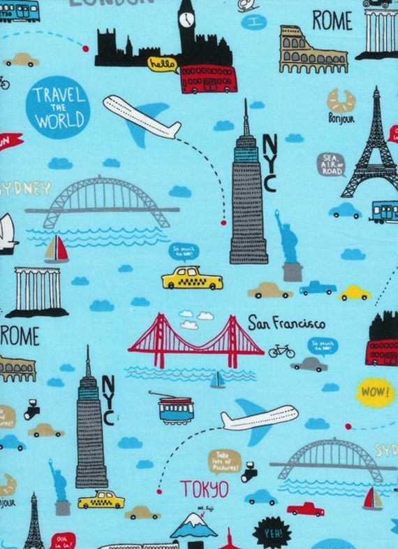 Travel The World Fabric on Blue -  By the Yard