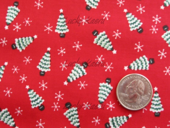 SALE Small Christmas Trees on Red Fabric - By the Yard