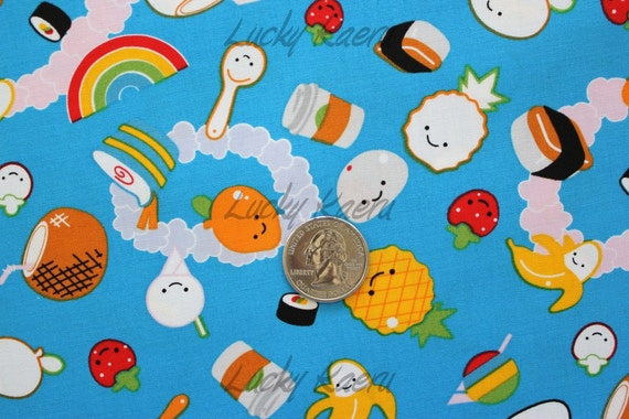 Kawaii Ono Local Food Blue Fabric - Half Yard