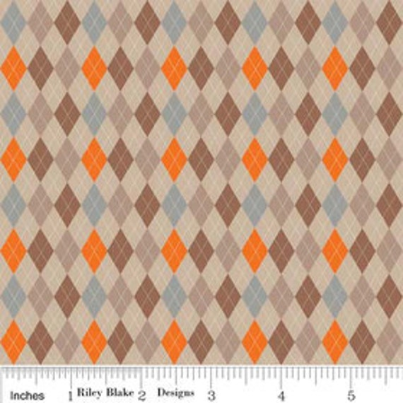 Riley Blake Designs, Fox Trails, Argyle Brown Fabric - By the Yard
