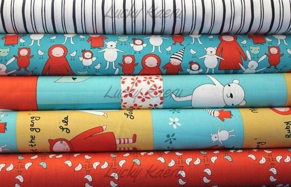 Marisa and Creative Thursday, Meet the Gang, Teal/Red Half Yard Fabric Set