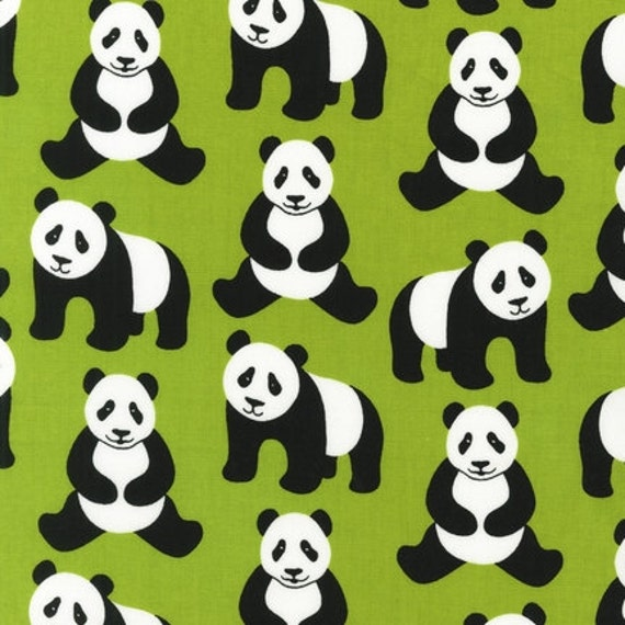 Pink Light Design, Menagerie, Pandas on Lime Green Fabric - By the Yard