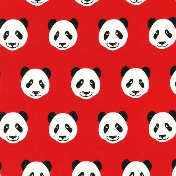 Pink Light Design, Menagerie, Panda Faces on Red Fabric - By the Yard