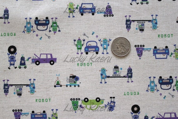 Japanese Repair Robots Blue/Green/Purple on Natural Japanese Linen Fabric - Half Yard