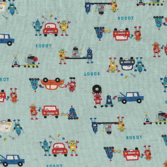 Japanese Repair Robots on Blue Japanese Linen Fabric - Half Yard