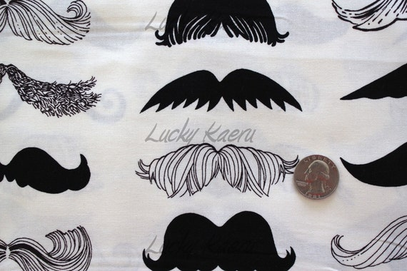 Alexander Henry Where's My 'Stache Natural Fabric - By the Yard