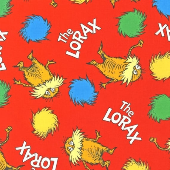 NEW Dr. Seuss, The Lorax, Bright Organic Cotton Fabric - By the Yard