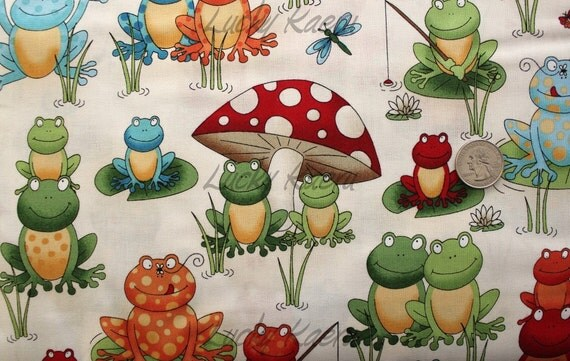 Makower UK Frog, Frog Scene Cream Fabric - Remnant Size 24 Inches by 44 Inches