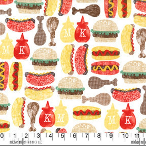 Michael Miller Ketchup and Mustard White Fabric - By the Yard