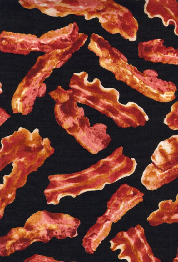 Breakfast Bacon on Black Fabric - By the Yard
