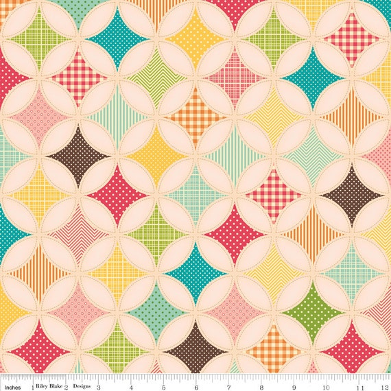 Riley Blake Designs, Fly A Kite, Ice Cream Designer Cloth Pink Fabric - By the Yard