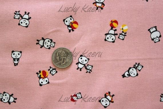 Tiny Pandas on Pink Japanese Fabric - Half Yard