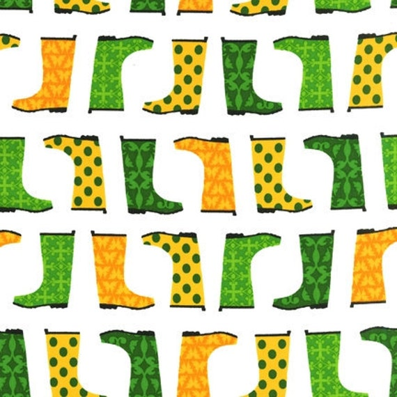 Laurie Wisbrun, Jack and Jenny, Rainboots Grass Fabric - By the Yard