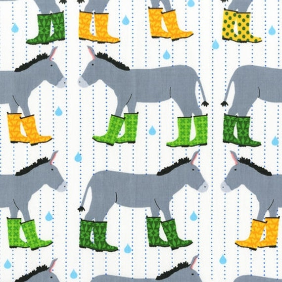 Laurie Wisbrun, Jack and Jenny, Donkeys in Rainboots Grass  Fabric - By the Yard