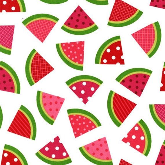 Ann Kelle Metro Market, Watermelon on White Fabric - By the Yard