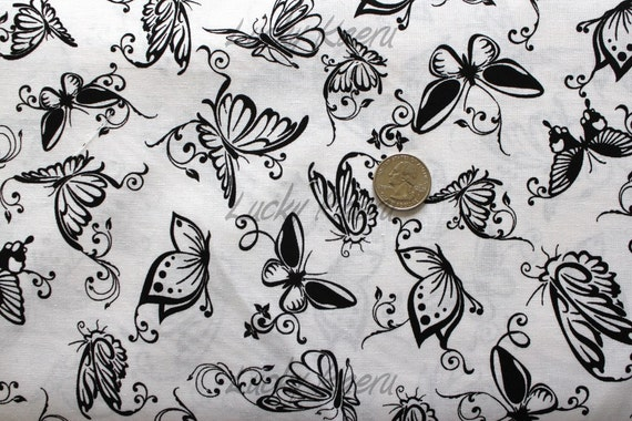 Black Butterflies on White Fabric - By the Yard