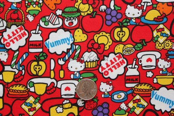 Hello Kitty Sweets on Red Japanese Fabric - Half Yard