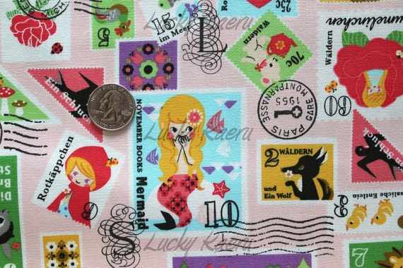 Fairytale Stamps on Pink Japanese Fabric - Half Yard