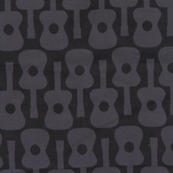Michael Miller Groovy Guitar Gray Fabric - By the Yard