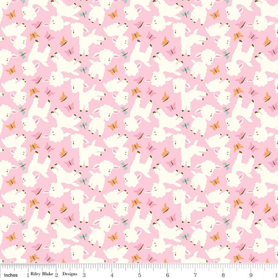 NEW Riley Blake Designs, Woodland Tails, Lamb Pink Fabric - By the Yard