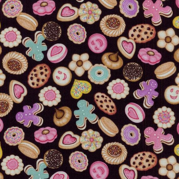 Dan Morris, Sugar Rush, Cookies on Black - By the Yard