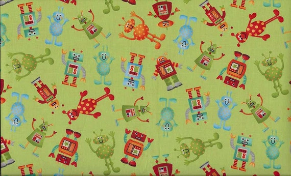 Makower UK Space, Aliens Green Fabric - By the Yard