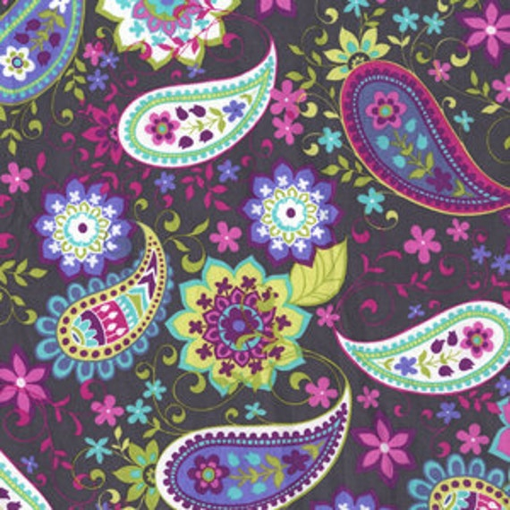 Michael Miller Paisley Spree Gray Fabric - By the Yard