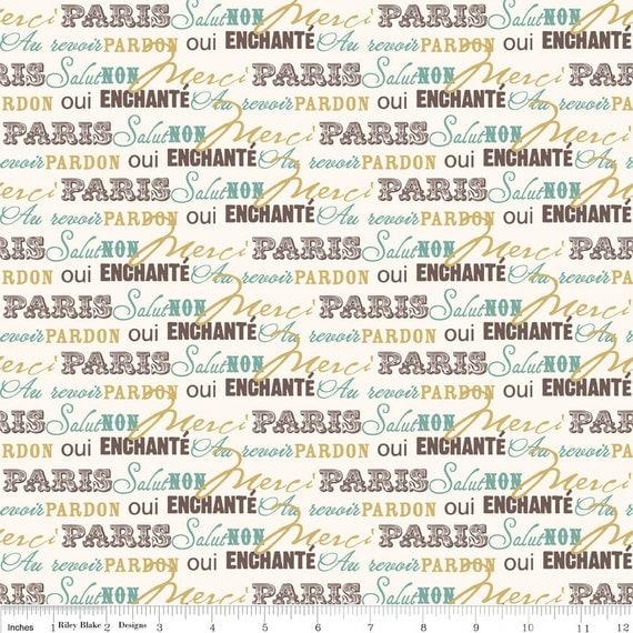 Riley Blake Designs, Paris And Company, Paris Words Cream Fabric  - By the Yard
