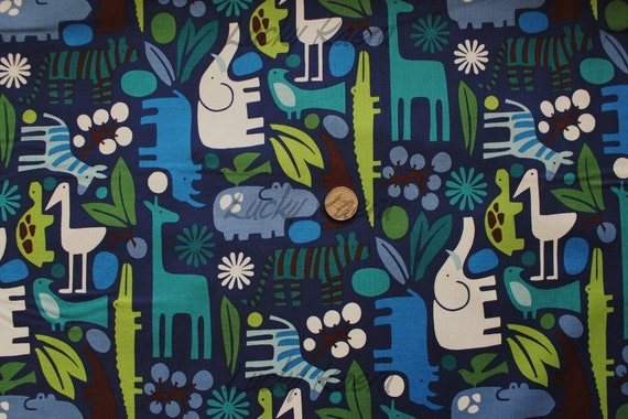 Alexander Henry 2D Zoo Navy Fabric - By the Yard