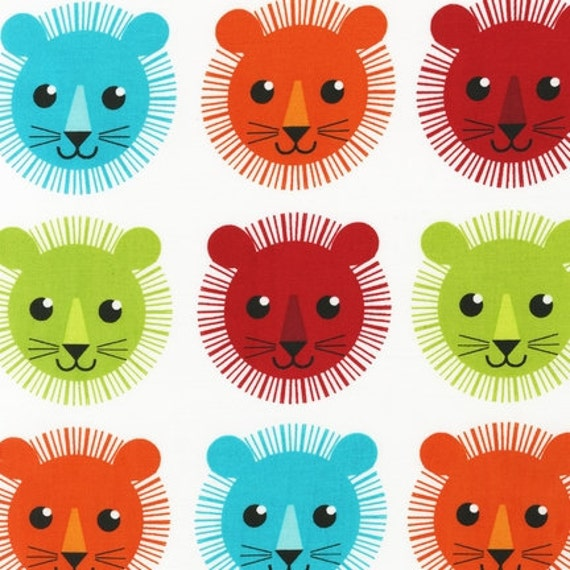 NEW Print & Pattern, Roar, Lion Mane Faces Fabric in Bright - By the Yard