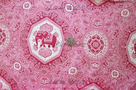 Lily Ashbury, Tradewinds, Floral Novelty Jaipur Elephant Fabric in Pink -  By the Yard