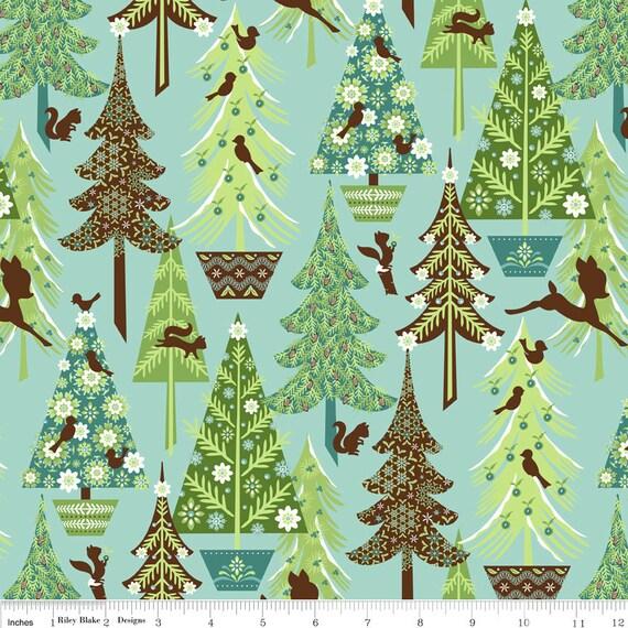 NEW Riley Blake Designs, Alpine Wonderland, Trees Blue Fabric - By the Yard