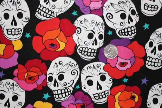 NEW Alexander Henry Estrella De Los Muertos Fabric on Black - By the Yard