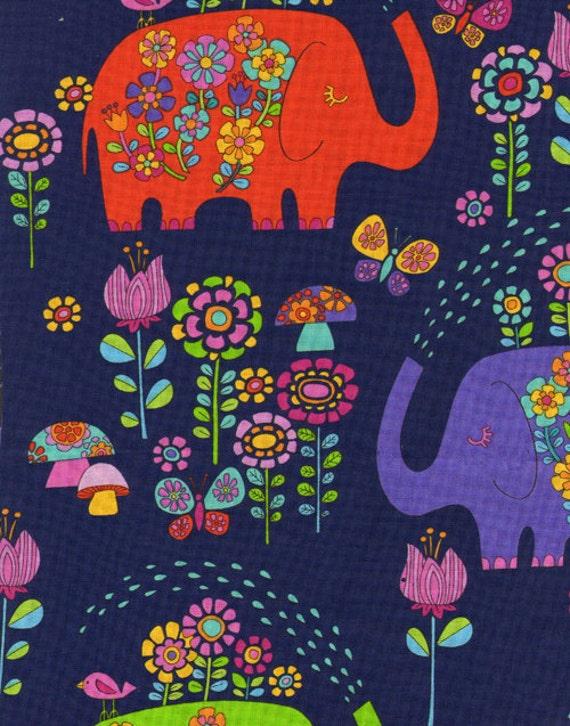 Elephants on Parade, Elephant Showers Navy Fabric - By the Yard