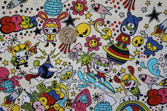 NEW Kawaii Anime Space Surfer on Cream Fabric - By the Yard