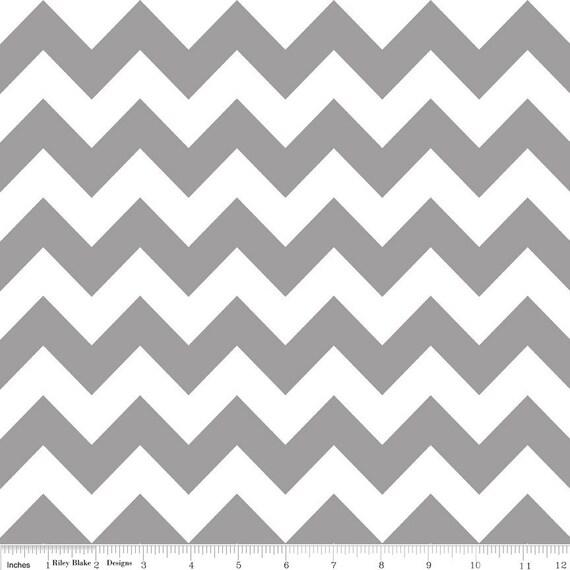 Riley Blake Designs Medium Chevron Gray Fabric Half Yard