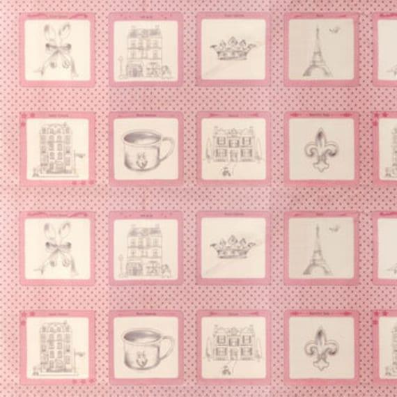 Bunny Hill Designs, Ooh La La, Pink Paris Panel Label Fabric - By the Panel