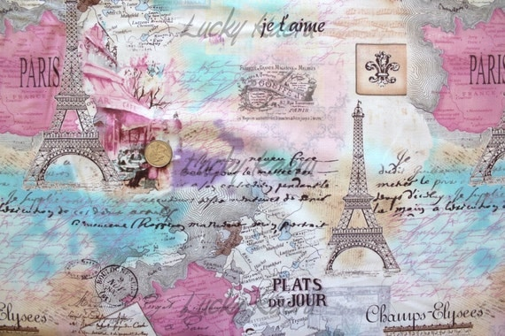 NEW Timeless Treasures, Paris Icons in Pastel Fabric - Reserved for ajojocreation