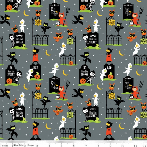 NEW Riley Blake Designs, Costume Clubhouse, Graveyard Gray Fabric - By the Yard