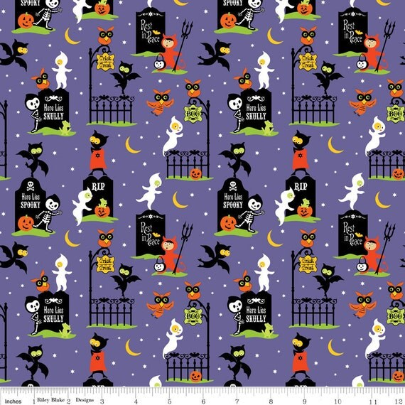 NEW Riley Blake Designs, Costume Clubhouse, Graveyard Purple Fabric - By the Yard