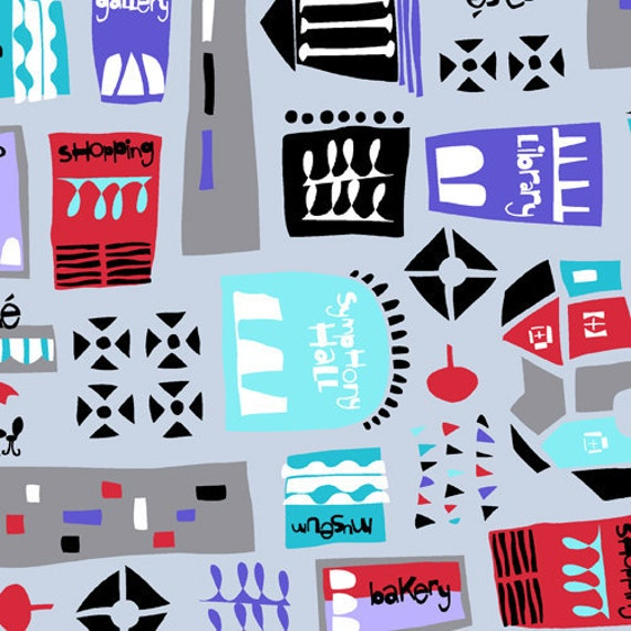 SALE Andover Jane Dixon, City Scenes, City Town Gray Fabric - By the Yard