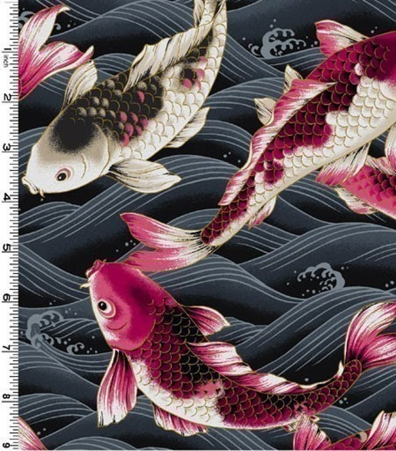 Koi fish on charcoal fabric by the yard for Koi fish print fabric