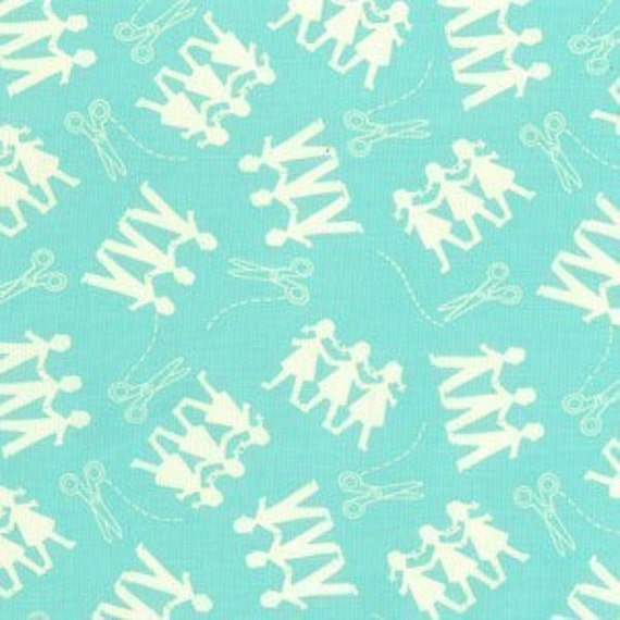 Michael Miller Kid Cut Ups Turquoise Fabric - Remnant Size 29 Inches by 44 Inches
