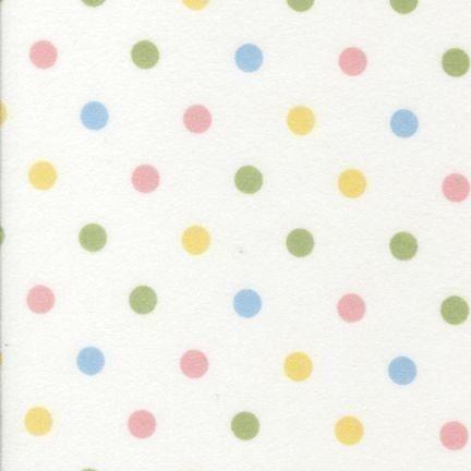 Robert Kaufman Cozy Cotton Polka Dots Pastel Flannel Fabric